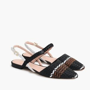 J.Crew Black Pointed Toe Woven Ankle Strap Flats
